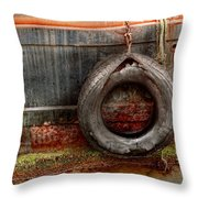 Boat - Abstract - It Was A Good Year Throw Pillow by Mike Savad