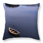 Boat And A Cross Throw Pillow by Skip Willits