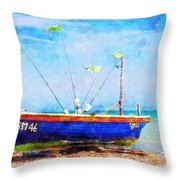 Boat Ashore Throw Pillow