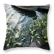 Boat At Dock On Lake Throw Pillow by Elena Elisseeva
