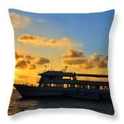 Boat At Sunrise Throw Pillow