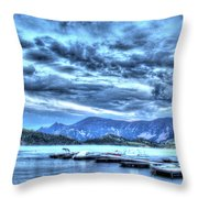 Boat Dock At Holter Lake Throw Pillow