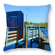 Boat Dock In Rhode Island Throw Pillow
