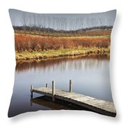Boat Dock On A Pond In South West Michigan Throw Pillow