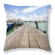 Boat Dock On Jetty In Penang Throw Pillow