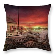 Boat - End Of The Season  Throw Pillow by Mike Savad