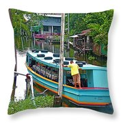 Boat For Transportation On Canals In Bangkok-thailand Throw Pillow