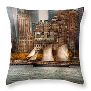 Boat - Governors Island Ny - Lower Manhattan Throw Pillow by Mike Savad