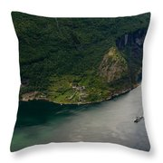 Boat In Geirangerfjord Throw Pillow