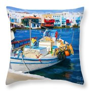 Boat In Greece Throw Pillow