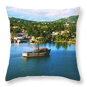 Boat In Harbor Throw Pillow