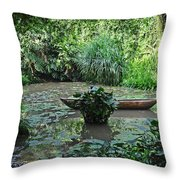 Boat In Jungle Throw Pillow