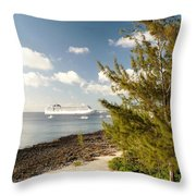 Boat In Port Throw Pillow