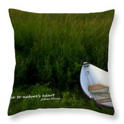 Boat In The Marsh Throw Pillow