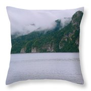Boat In The Mist Throw Pillow