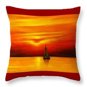 Boat In The Sunset Throw Pillow
