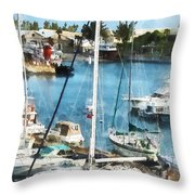 Boat - King's Wharf Bermuda Throw Pillow