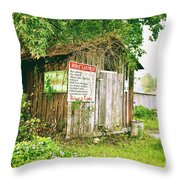 Boat Launch Outhouse - Texture Bw Throw Pillow