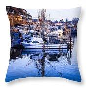 Boat Mast Reflection In Blue Ocean At Dock Morro Bay Marina Fine Art Photography Print Throw Pillow