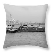 Boat Meet Barge In Black And White Throw Pillow