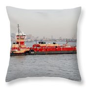 Boat Meet Barge Throw Pillow