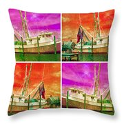 Boat Of A Different Color Throw Pillow