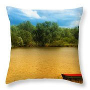 Boat On A Golden Pond Throw Pillow