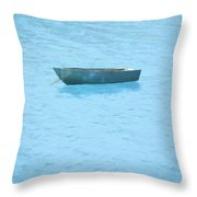 Boat On Blue Lake Throw Pillow