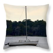 Boat On Calm Waters Throw Pillow