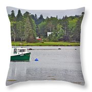 Boat On Cove In Glen Margaret-ns  Throw Pillow