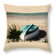 Boat On Devonshire Bay Beach Throw Pillow