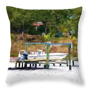 Boat On Dock Throw Pillow