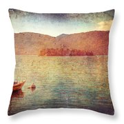 Boat On Lake Maggiore Throw Pillow