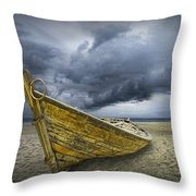 Boat On The Beach With Oncoming Storm Throw Pillow