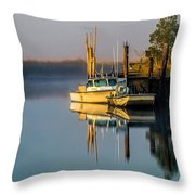 Boat On The Creek Throw Pillow