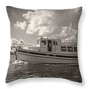 Boat On The Water Throw Pillow