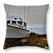 Boat Out Of Water Throw Pillow