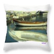 Boat Pier Throw Pillow