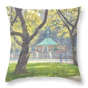 Boat Pond, Central Park Oil On Canvas Throw Pillow