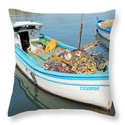 Boat Reflected In Sozopol Harbour Throw Pillow