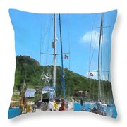 Boat - Relaxing At The Dock Throw Pillow