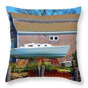 Boat Repair Shop Number Two Throw Pillow