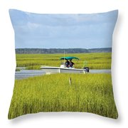 Boat Ride In The Marsh Throw Pillow