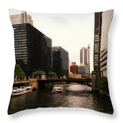 Boat Ride On The Chicago River Throw Pillow