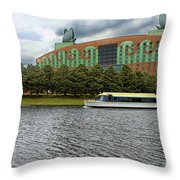 Boat Ride Past The Swan Resort Walt Disney World Throw Pillow