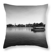 Boat Ride World Showcase Lagoon In Black And White Walt Disney World Throw Pillow