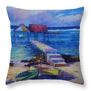Boat Shed And Boats Throw Pillow by John Clark
