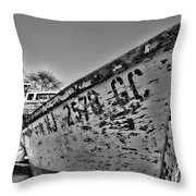 Boat - State Of Decay In Black And White Throw Pillow