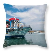 Boat To Tavira Island Throw Pillow