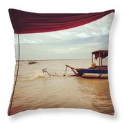 Boat Travels Throw Pillow
